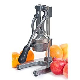 Large Commercial Juice Press Citrus Juicer, Manual Juicer Juices Pomegranate,Oranges, Lemons, Limes, And Grapefruits Juicing Is Fast Easy And Clean 54 Professional-quality juicer for the home, made of cast iron and 18/10 stainless steel Ergonomic rubberized handle will withstand 2,300 PSI (pounds per square inch) Great for squeezing the most juice possible out of oranges, grapefruits, lemons, limes, and mor