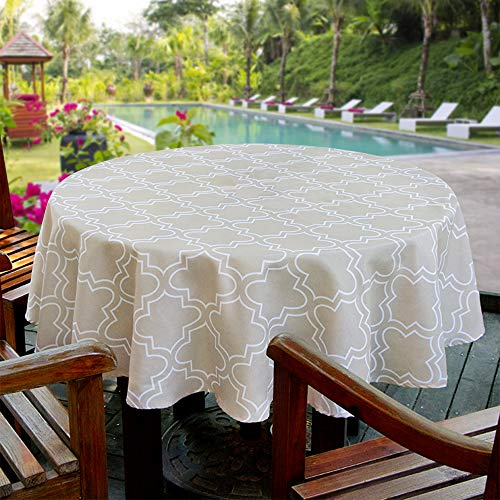 Aoohome 60 Inch Round Tablecloth, Polyester Spill-Proof Water Repellent Geometric Quatrefoil Table Cloth for Holiday Party, Machine Washable, Heavy Weight, Khaki