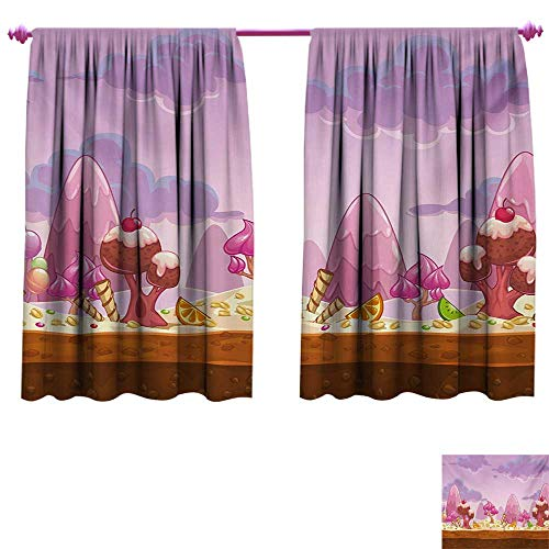 Girls Decor Curtains by Cartoon Sweet Candy Land Cupcakes Ice Cream Chocolate Oranges Mountains Artwork Print Patterned Drape for Glass Door W84 x L72 Multicolor