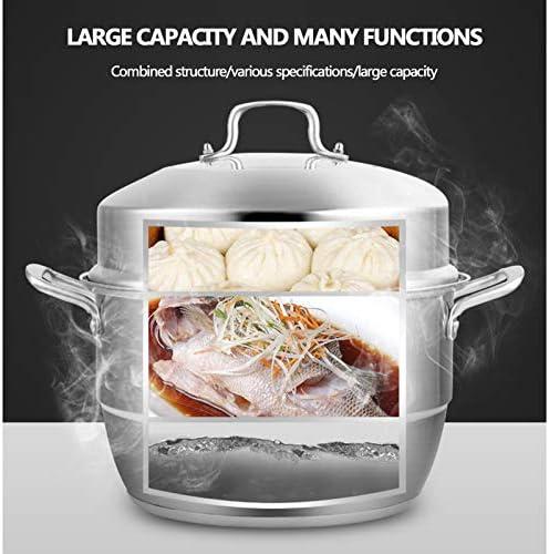 Marmite vapeur en acier inoxydable, cuiseur vapeur pour aliments, cuiseur vapeur multifonction avec couvercle, 28 cm