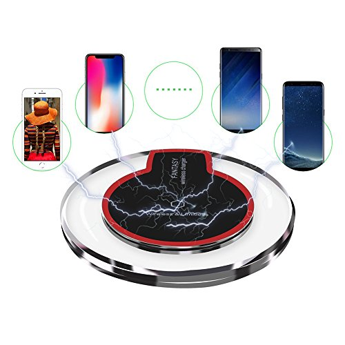 Wireless Charger, Slepwel Wireless Charging Pad for Samsung Note 8, S8/S8 Plus/S7/S7 Edge/S6, Apple iPhone 8/8 Plus, iPhone X, Nexus 7/6/5/4, Nokia Lumia 920, LG and More (Black)