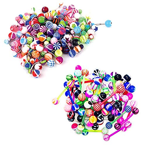 BodyJ4You 100PC Steel Belly Ring Flexible Tongue Barbell Bar 14G Acrylic Assorted Mix Body Jewelry
