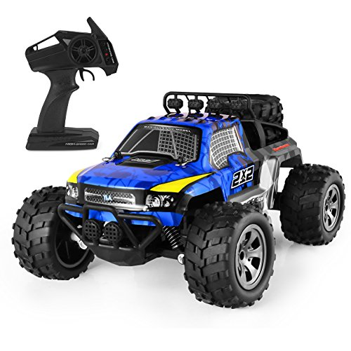 RC Cars,1:18 Scales All Terrain Remote Control High-Speed Telecar,Offroad 2.4Ghz 2WD Remote Control Monster Truck,Gift for Kids and Adults(Blue)