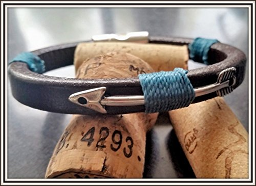 - Thick Brown Leather Arrow Bracelet, Mens Arrow Wristband With Custom Choice Color Thread