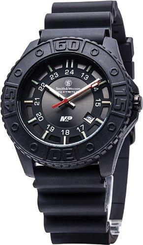 Smith & Wesson Men's SWW-MP18-BLK M&P Swiss Tritium H3 Black Dial Rubber Band Watch
