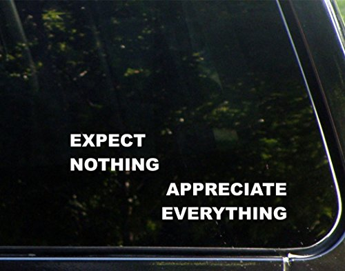 Expect Nothing Appreciate Everything  8 3 4  X 3 1 2   Die Cut Decal Bumper Sticker For Windows  Cars  Trucks  Laptops  Etc