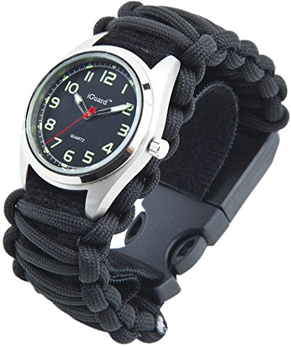 [Premium Adjustable] 8-in-1 Water Resistant Survival Tactical Emergency Watch Bracelet Hiking Camping Kit iGuard 550-lb Military Grade Paracord Fire Starter Compass Whistle (black)