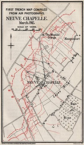 WW1 WESTERN FRONT. 1st trench map from aerial photos. Neuve Chapelle ...