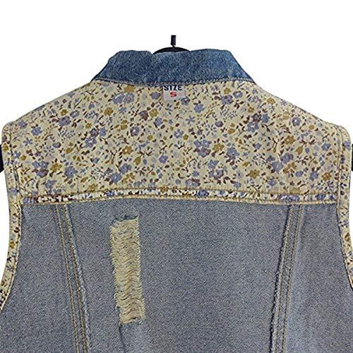 Strappato Giaccone Giacca Outerwear Donna Autunno Gilet Ragazza Cappotto Smanicato Primaverile Elegante Jeans Vintage Slim Tasche Petto Blu Sul Frontali Blau Chic Fit zSTwAqT