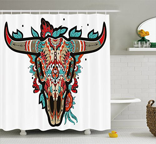 Western Bath Decor (Western Shower Curtain by Ambesonne, Buffalo Sugar Mexican Skull Colorful Ornate Design Horned Animal Trophy, Fabric Bathroom Decor Set with Hooks, 70 Inches, Turquoise Red Taupe)