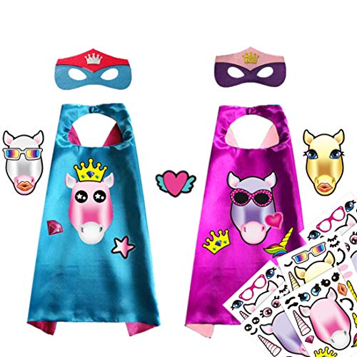 Superhero Capes for Kids,Unicorn Stickers Satin Capes and Masks for Birthday Party(2 Cape 2 Mask)]()