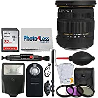 Sigma 17-50mm f/2.8 EX DC OS HSM Zoom Lens for Nikon DSLRs with APS-C Sensors + 32GB Memory Card + 77mm Filter Kit + Monopod + Remote + Flash + Screen Protector + Top Value DSLR Lens Accessory Kit!