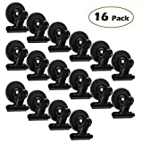 16 Refrigerator Magnet Clips -30 mm Wide - Magnetic Metal Clips for Fridge,Dry Erase Board and Whiteboard,Perfect For Home, School, Classroom and Office Use,Black