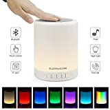 ELEPOWSTAR Bluetooth Wireless Speakers, Touch Sensor Bedside Table Lamp, Dimmable Color Changing Night Lights for Outdoor Bedroom Living Room, Portable LED Desk Lamp with Mic Support AUX, TF Card