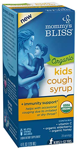 Mommy's Bliss Kids Organic Cough Syrup + Immunity Support with Honey, Elderberry, Vitamin C & Zinc &, Ages 1 Year+ 4 Fluid Ounce