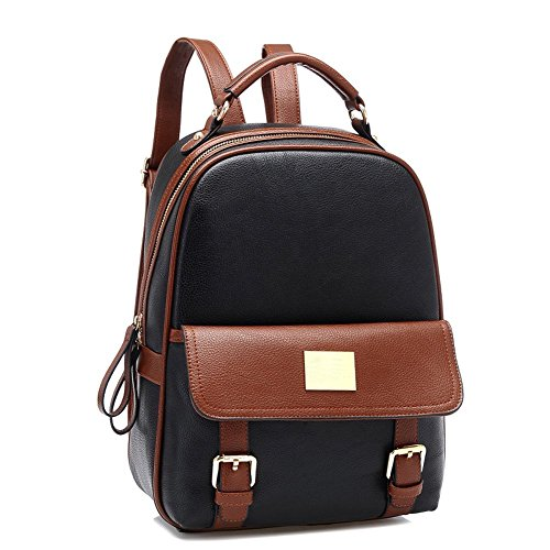 HAPPY Leather Retro Faux Backpack Student Travel black Schoolbag X Shoulder Preppy Bag AwCqBdnxB