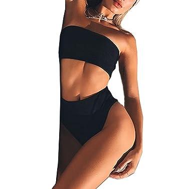 b460d93d7d5 Amazon.com: BEAdressy Women Newest Two Pieces Solid Strapless Tube Bra Top High  Waist Bikini Set: Clothing