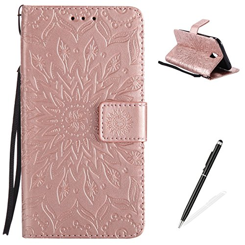 Samsung Galaxy J530/J5 2017 Case,MAGQI PU Leather Wallet Cover,Embossed Mandala Sunflower Painting With Card Slots Holder Stand Function Hand Strap Bulit-in Inner Soft TPU Protective Shell for Samsung Galaxy J530/J5 2017 - Rose Gold