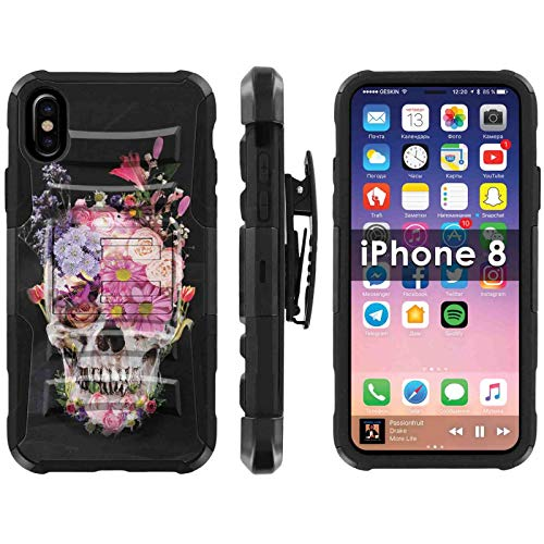 (TalkingCase Deluxe Phone Case Cover for Apple iPhone8,8s,7,7s,Black-Black Premium Dual Layer Armor Case,with Holster & Kickstand,Flower Skull Print,Design and Print in USA)