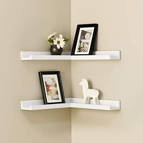 WELLAND Corner Picture Ledge Set of 2, White Photo Ledge, Corner Floating  Shelves for Bedroom, Living Room, Study Room and Kitchen