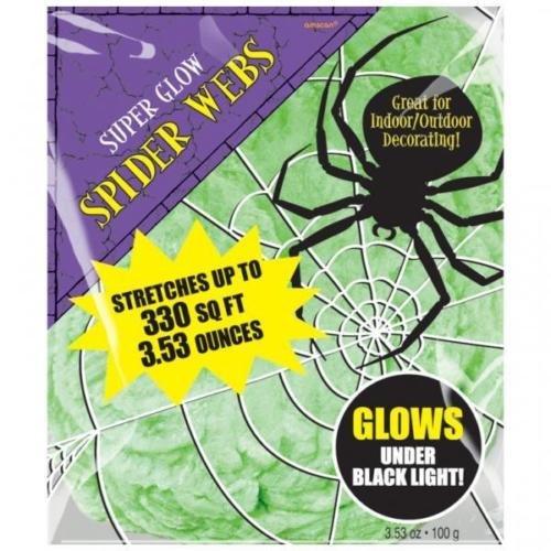 Amscan Green Glow in The Dark Spiders Web/Cobweb Decoration 100g