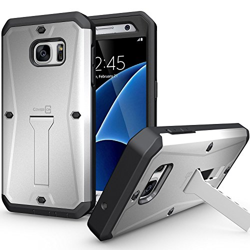 Galaxy S7 Case, CoverON [Priwen Series] Hard Protective Hybrid Kickstand Case for Samsung Galaxy S7 with Built-in Screen Protector - Silver Black