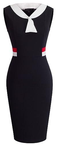 HOMEYEE Women's Elegant Sleeveless V-neck Wear to Work Casual Dress B314