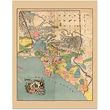 Amazon.com: Antiguos Maps MAP of Greater Los Angeles : The ...
