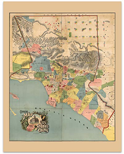 - Los Angeles County California Vintage Retro Map Circa 1888-11 x 14 Unframed Print - Great Housewarming Gift for the Angeleno in Your Life