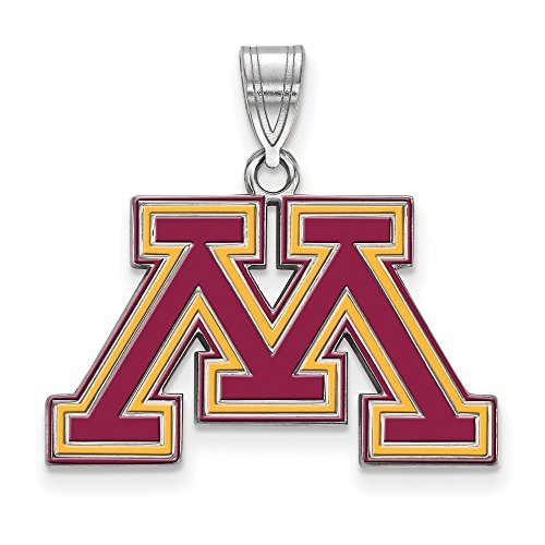 Jewelry Stores Network Minnesota Golden Gophers Maroon School Letter Logo Pendant in Sterling Silver M - (16 mm x 25 mm) ()