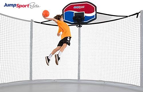 JumpSport Proflex Basketball Hoop Accessory & Inflatable Ball for Trampoline | Fits AlleyOOP, Elite Classic Safety Enclosures (Elite) | Trampoline Sold Separately