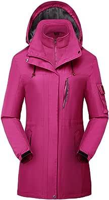 HILEELANG Women's 3 in 1 Waterproof Insulated Ski Snowboard Interchange Jackets Rain Coat