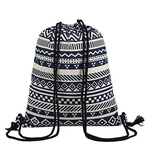 Women's Canvas Drawstring Bag Gym Sack Backpack for Outdoor Sport Travel Shopping from Star K