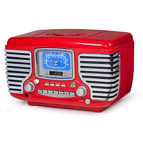 Crosley CR612D-RE Corsair Retro Am/FM Dual Alarm Clock Radio with CD Player and Bluetooth, Red (Radio Ipod Crosley)