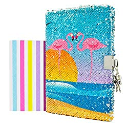 Flamingo Notebook Diary with Lock and Key Flip Sequin
