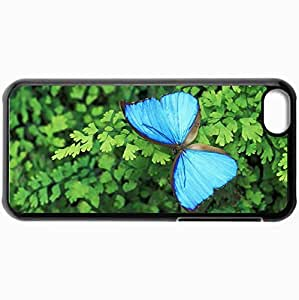 Fashion Unique Design Protective Cellphone Back Cover Case For iPhone 5C Case Blue Morph Butterfly Black