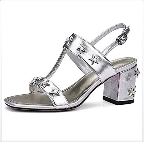 Quotidiennes Talons À Dames Sandales Silver Pour Ronds Sandales Mode Sandales GONGFF qEwBRzn4