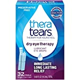 TheraTears Eye Drops for Dry Eyes, Dry Eye Therapy Lubricant Eyedrops, Preservative Free, 32 Count Single-Use Vials