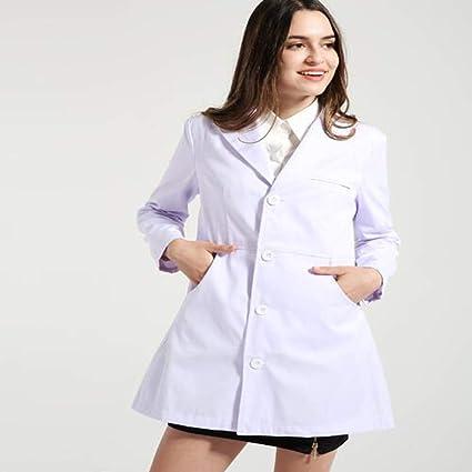 OPPP Ropa médica Slim Fit Ropa de Doctor Traje Bata de Laboratorio médico Hospital Salón de Belleza Farmacia Ropa de Trabajo Uniforme de Enfermera de Manga ...