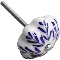 Baoblaze Cerâmica Única com Parafuso Azul e Branco Porcelana Puxadores Redondos Pintados à Mão Puxadores de Gaveta - #2