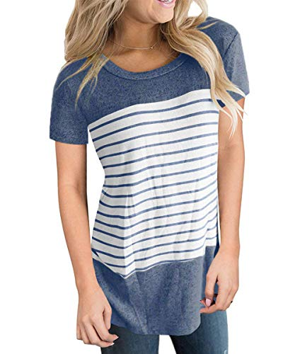 Womans T-Shirt Short Sleeve O Neck Tops for Ladies Summer Fashion Tee Shirts Blue S