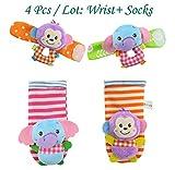 4pcs/lot Baby Toys Beads Bracelet Foot Baby Rattle Socks Garden Protect Wrist Animal