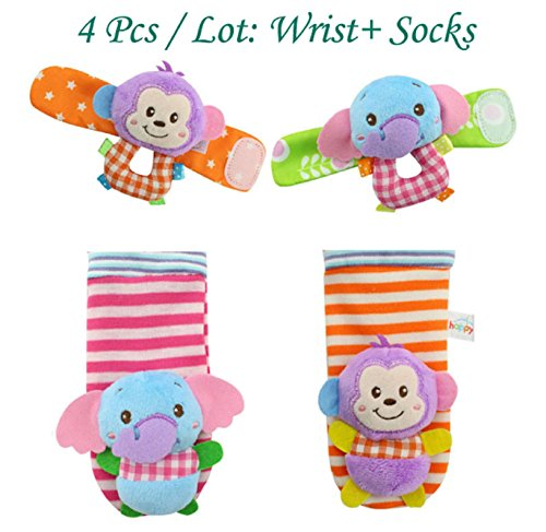 4pcs/lot Baby Toys Beads Bracelet Foot Baby Rattle Socks Garden Protect Wrist Animal (Monkey Kit With Sound)