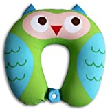 Nido Nest Kids Travel Neck Pillow - Best for Long Flights, Road Trips & Birthday Gift Ideas - U-Shaped Pillows Sized Best for Toddler, Preschool, Kindergarten, Elementary Children - OWL