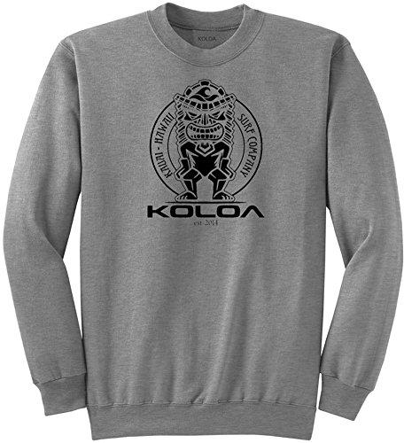Joe's USA Koloa Surf Tiki Logo Crewneck Sweatshirt - M-AthleticHeath/b