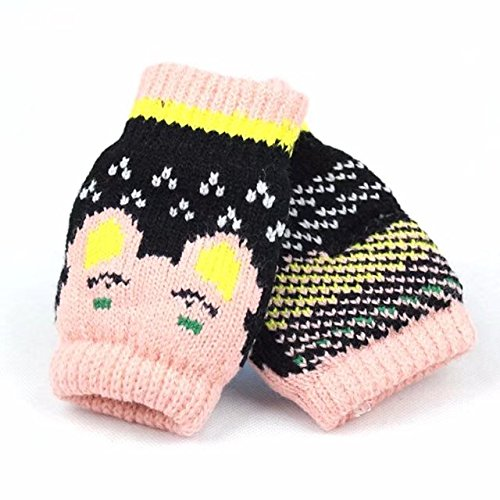 Pack of 3 Toddler Kids Half Open Knitted Gloves for Playing and Doing Homework; Assorted Fingerless Cartoon Cute Mittens for Child Warm Winter