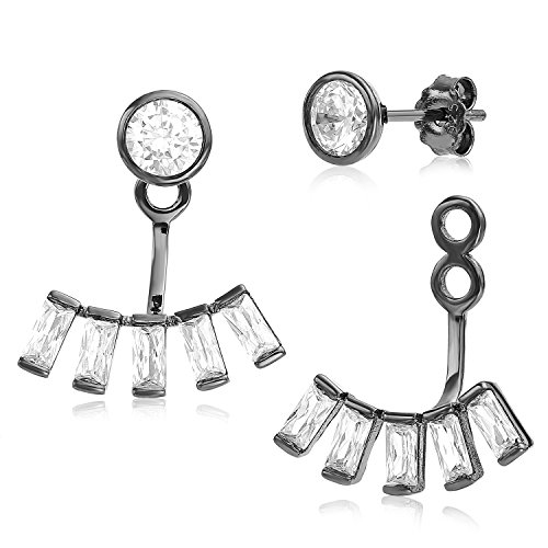Ear Jacket 2 in 1 Black Rhodium Plated-Sterling Silver, CZ AAA Quality Stud and Ear Jacket Earrings Set