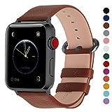 Fullmosa YAN Correa Cuero Compatible Apple Watch/iwatch Series 3, Series 2, Series 1, Apple Watch Correa/Pulsera/Banda 38mm 42mm, Marrón + Hebilla de Ahumado, 42mm