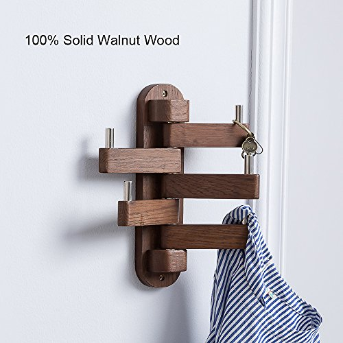 (Solid Wood Swivel Coat Hooks Folding Swing Arm 5 Hat Hanger Rail Multi Foldable Arms Towel/Clothes Hanger for Bathroom Entryway Bedroom Office Kitchen Kids Garage Wall Mount Accessories (Walnut Wood))