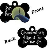 Disney Nightmare Before Christmas Jack and Sally Double Sided Pet Id Dog Tag Personalized with 4 Lines of Text